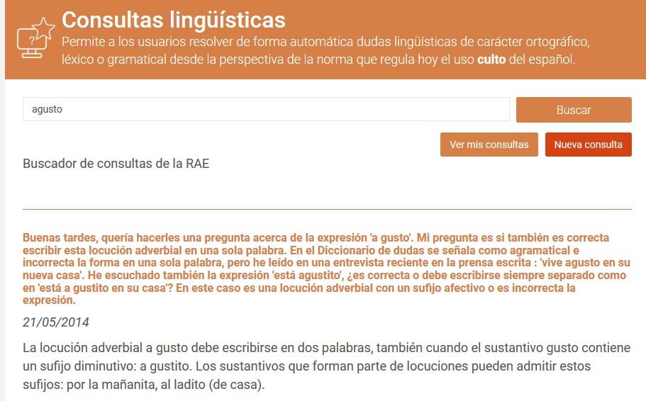 Consulta sobre «agusto» en la herramienta «Consultas lingüísticas» de Enclave RAE.