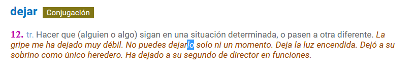 Consulta del verbo «dejar»
