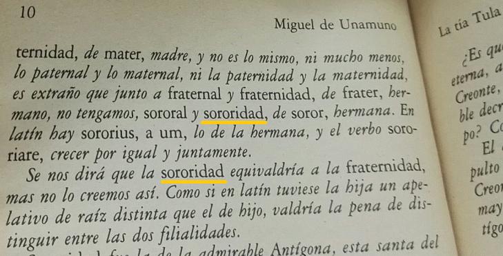 Fragmento de «La tía Tula» de Miguel de Unamuno.