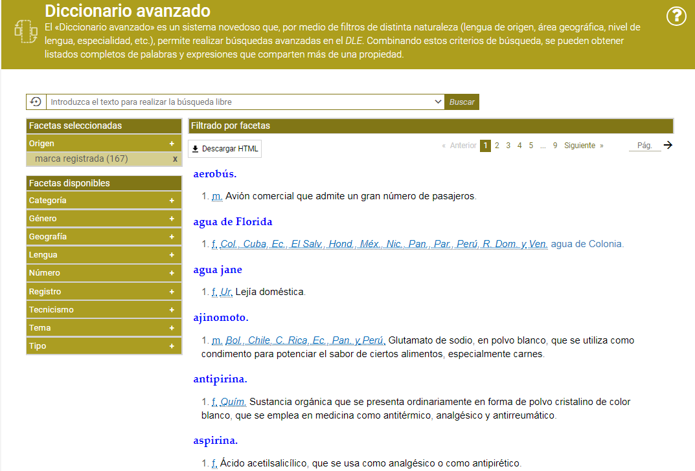 Marcas registradas en el Diccionario.