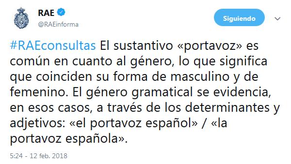 Tuit sobre «Portavoza» de @RAEinforma.