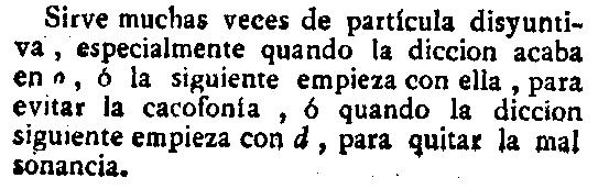 Información sobre la conjunción u en su entrada de la edición de 1783 del diccionario académico